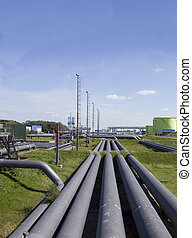 Oil industry with pipes and tubes all over.