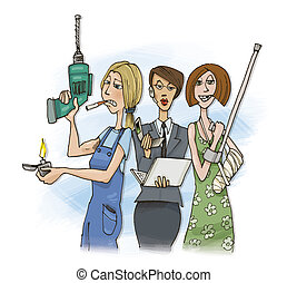 three women - humorous illustration of three different women