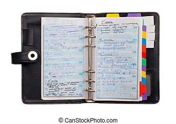 Personal Organizer - Black leather organizer notepad...