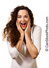 Beautiful young surprised woman