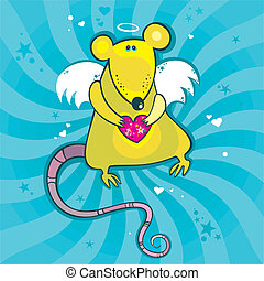 Angel cupid rat card