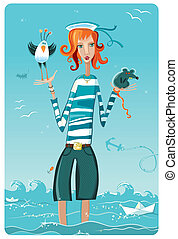 Sailor girl. - Attractive young woman in sailor\'s costume...