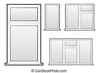 window collection - White plastic double glazed window...
