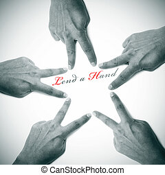 lend a hand written on a white background with hands drawing...