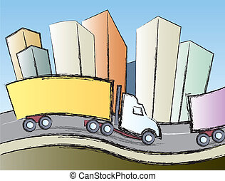 Trucks In The City - Big rigs traveling on the interstate...