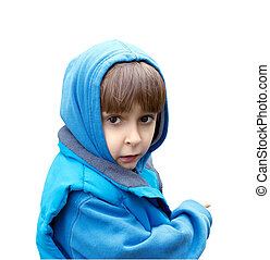 Portrait of a boy in a blue dress isolated on white background