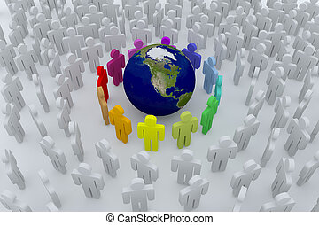 Group of colour people around the earth