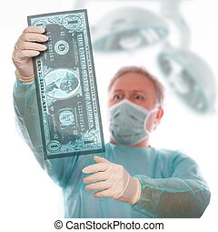 Dollar sickness - Specialist reviewing dollar x-ray before...