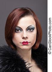 Woman portrait with fur boa in retro style