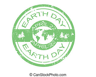 earth day stamp - grunge rubber earth day stamp,vector...