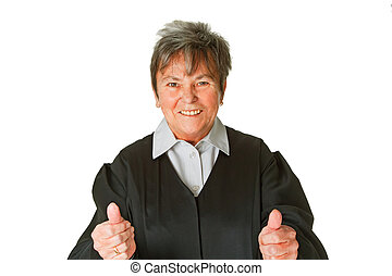 Sucess - Female lawyer shows thumbs up- isolated on white...