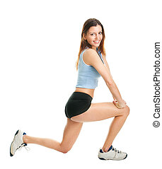 Fitness woman doing lunge exercise. Isolated on white