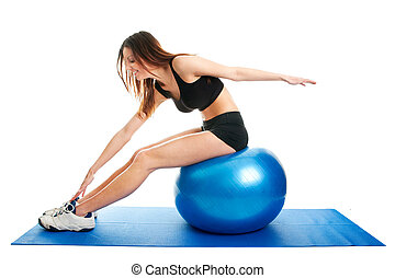 Fitness woman stretshing on fitness ball Isolated on white