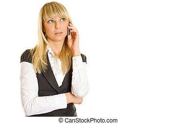 Business woman talking on the phone - Close-up of young...