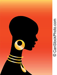 The African girl on a red backgroun