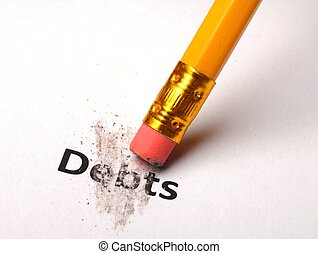 debt or debts concept with eraser showing finance or...