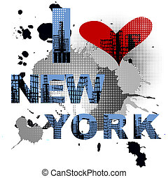 Grunge background with New York text