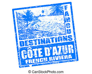 Cote D'Azur stamp - Grunge rubber stamp with beach, palms...