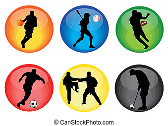 Sport buttons - Set of sport buttons in different colors,...