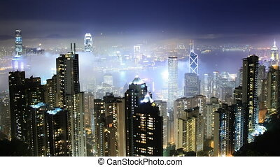 Time lapse Hong Kong skyline from famous Peak View at night....
