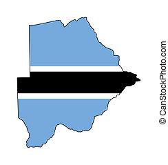 Botswana flag on map