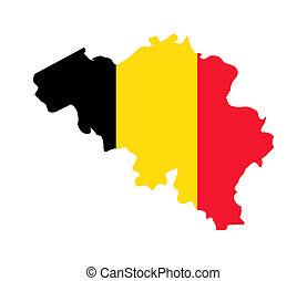 Belgium map flag - Illustration of Belgium flag on map of...