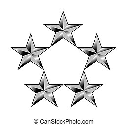 American General stars - Five or 5 silver stars showing rang...