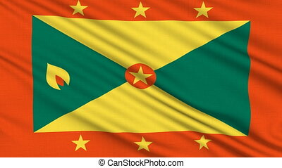 Grenada Flag, with real structure of a fabric
