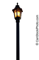 Light Post on white background with clipping path.