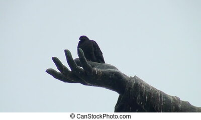 The pigeon on the palm of the monument