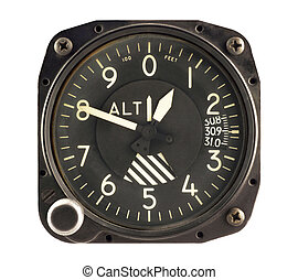 Airplane Altimeter - Airplane altimeter isolated in white