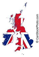 Union Jack flag on UK map