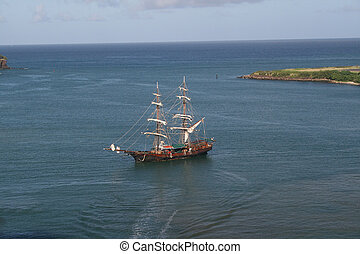 Caribbean pirate ship replica - A replica of an 18th century...