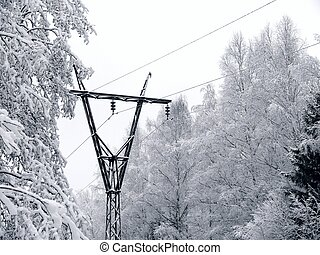 Power line. Winter. - Power line covered with snow. Winter...