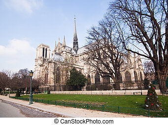 The famous Notre Dame in Paris, France.
