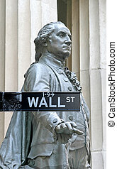 Wall Street with George Washington statue in Manhattan...