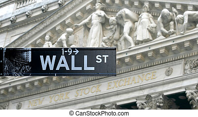 Wall street sign in New York - Wall street sign with New...