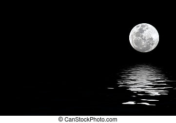 moonrise - full moon with water reflection with copy space...