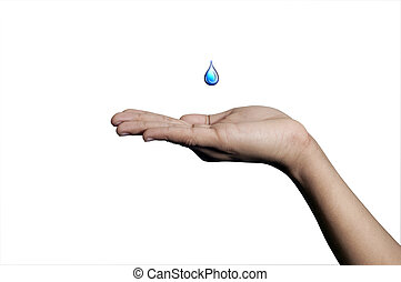Save Water - A yound hand isolated on a white background