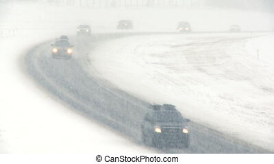 Highway snowstorm traffic 02