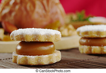 Un, peruano, galleta, llamado, alfajor, llenado, manjar, (a,...