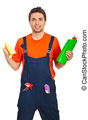 Worker man hold cleaning products