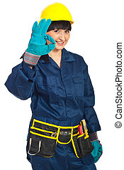 Successful constructor worker female - Successful worker...