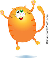 Cat jump! - Cute fat cat jump, vector