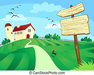 Farm with sign - Farm surrounded by fields with wooden...