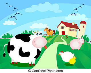 Farm - Beautiful farm surrounded by fields with grazing...