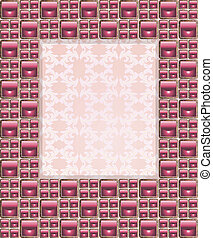 decorative frame with pink stones and floral elements