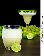 Pisco Sour, a Peruvian cocktail made of pisco, lime juice,...