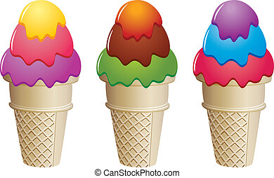 vector colorful icecream cones