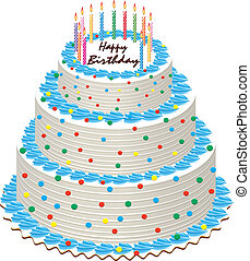 birthday cake with burning candles - big vector illustration...